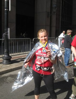 After the marathon. Tired and proud and slightly delirious.